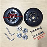 80X24mm Black Luggage Suitcase / Inline Outdoor Skate Replacement Wheels with ABEC 608zz Bearings