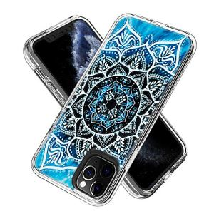 FAWUMAN Clear Phone Case for iPhone 11 Pro Max (6.5inch) Shockproof Hard Plastic Back + TPU Soft Bumper Protective, Cover with Kawaii Cartoon Card Phone Case (Mandala) 61esKy5BLDL