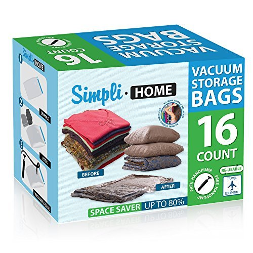 Tiergrade B16060009-01 Simplihome 16 Pack Extra Jumbo Storage Travel Space Saver Bags, Work with Any Vacuum Cleaner
