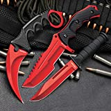 Black Legion 3-Pc. Knife Set Atomic Red   Karambit - Huntsman - Military Knife