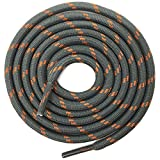 DELELE 2 Pair Thick Round Climbing Shoelaces Gray Orange Dots Hiking Shoe Laces Boot Laces 61.02 inch