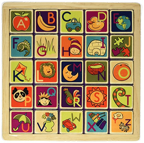 B. Toys - Magnetic Alphabetic - Double-Sided 2-in-1 Magnetic Alphabet Puzzle Board with Chalkboard - Classic Wooden Alphabet Puzzle Board - Learning Toys for Toddlers with 26Piece