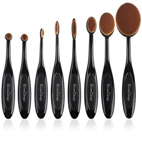 EmaxDesign 8 Pieces Oval Makeup Brush Set Professional Foundation Concealer Blending Blush Liquid Powder Cream Cosmetics Brushes, Toothbrush Curve Makeup Tools For Face and Eyes.