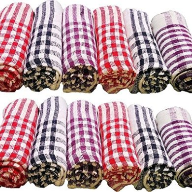 Niranj Cotton Cleaning Cloth Kitchen Multipurpose Napkin (15X15 Inch, Multicolour) - Pack of 12 35