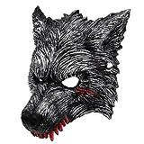 Unomor Halloween Werewolf Mask with Blood Stains, Dark Grey Half Wolf Mask with Vivid Design for Party