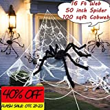 BATURU Spider Web Decoration, Halloween Spider Webs Outdoor Decorations (16 ft) with Giant Spider(50 inch), Super Stretchy Spider Cobweb(Covers 100 sqft), Halloween Outdoor Yard Spooky Decor