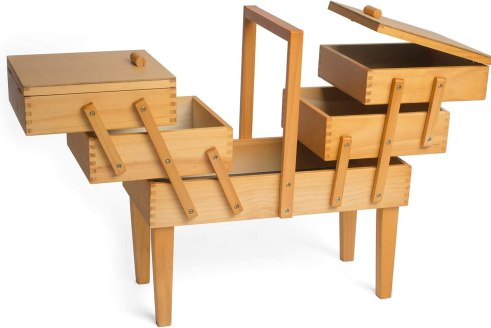 Hobby Gift Wooden Cantilever 3 Tier Sewing Box