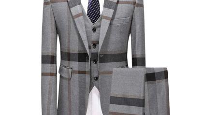 6ccb39cfaaf MAGE MALE Men s Plaid Suit Slim Fit 3-Piece Suit One Button Blazer Dress  Business