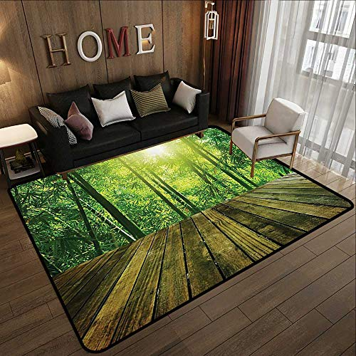 Bathroom Rugs,Asia Tropical Decor Collection,Wooden Area and Asian Bamboo Forest with Sunlight Landscape Picture,Green Olive 55'x 63' Non-Slip Bath Hotel Mats