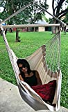 Large Brazilian Hammock Chair by Hammock Sky - Cotton Weave - Extra Long Bed - Hanging Chair for Yard, Bedroom, Porch, Indoor/Outdoor (Natural)