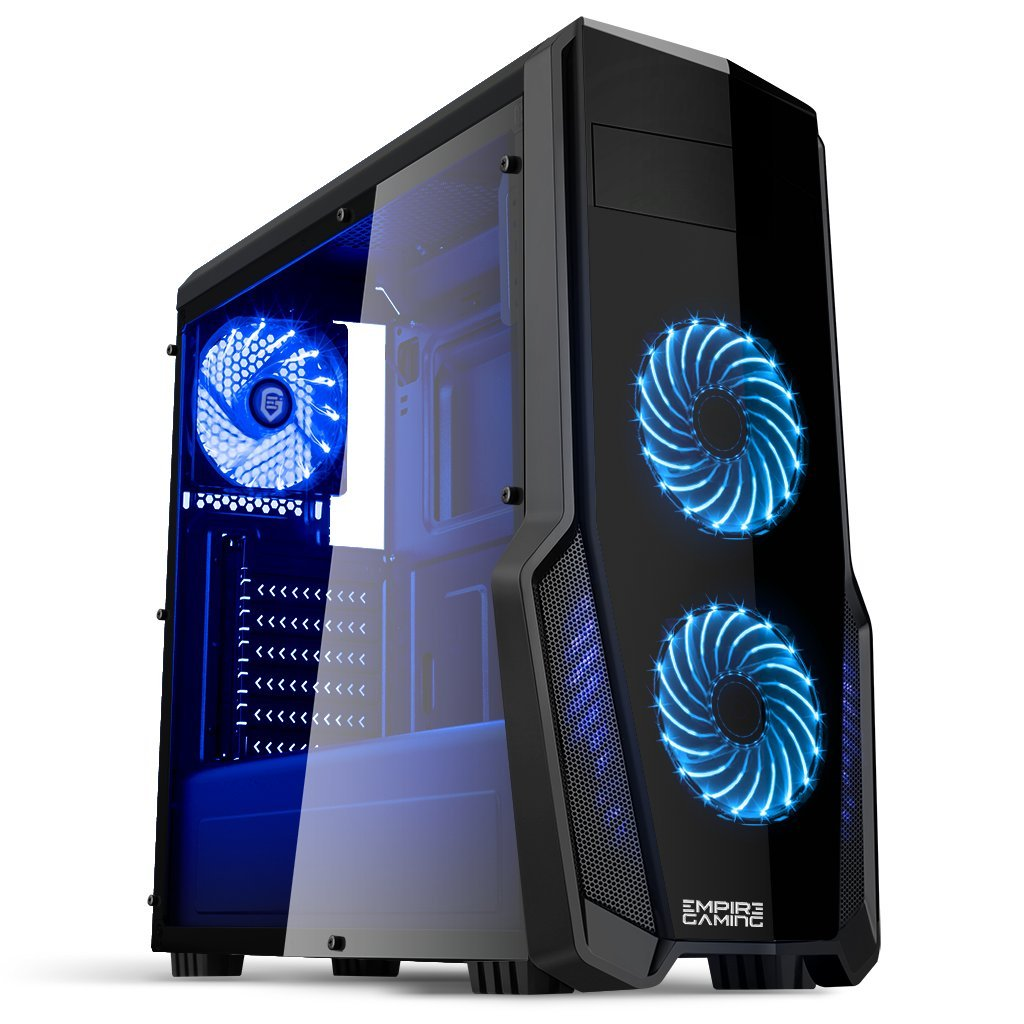 EMPIRE GAMING - Boitier PC Gamer WareFare Noir - 3 Ventilateurs LED Bleu 120 mm - Paroi latérale Transparente - Compatible ATX/mATX / mITX