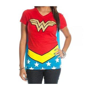 DC Comics Wonder Woman Glitter Juniors Red V-neck Tee (Small)