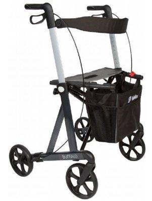 Premium Rollator Mobilex Buffalo, Aluminium, faltbar, mit Vollausstattung, Sitzfläche, Rückengurt, Tasche, Alurollator bis 200 kg Student? Jetzt sofort 10€ sichern von MOBILEX