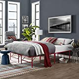 Modway Horizon Full Bed Frame in Red - Replaces Box Spring - Folding Portable Metal Mattress Bed Frame with Storage - Low Profile - Heavy Duty