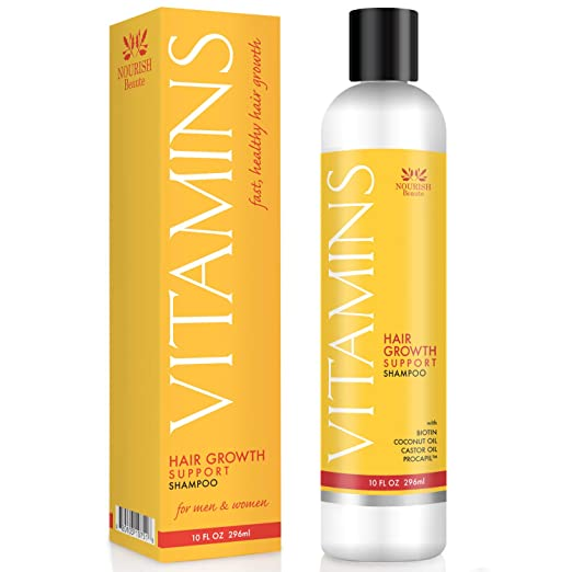 vitamin shampoo for hair loss in a yellow and white bottle with black cap