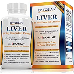 Dr. Tobias Liver Support - 21 Day Cleanse & Detox Supplement With Artichoke, Dandelion, Milk Thistle & Proteolytic Enzymes - Plus Solarplast to Help Digest Proteins & Fats