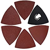 XXGO 26 Pcs Triangle Hook & Loop 3-1/8 Inch 60/80 / 100/120 / 240 Grits Oscillating Multi Tool Grits Abrasive Sandpaper and Triangular Sanding Pads Sets
