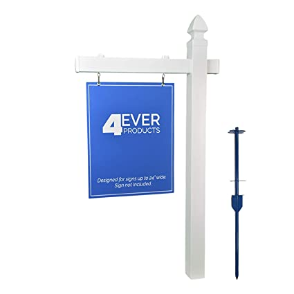 Amazon Com Ever Vinyl Pvc Real Estate Sign Post White Single Home And Garden Products Garden Outdoor