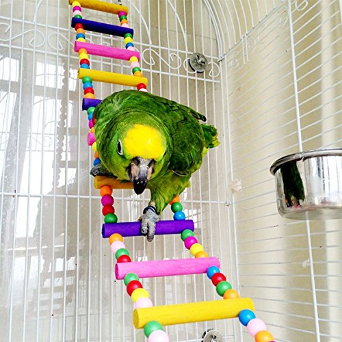 OnePlus Colorful Ladder Bird Toy, Flexible Ladders Wooden Rainbow Bridge for Parrots, 4 Inch W by 31.5 Inch L
