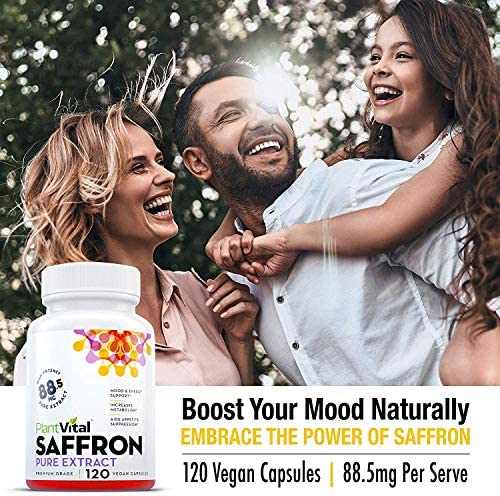 Saffron Supplement - 100% Pure Saffron Extract. Support Healthy Weight Loss, Appetite Control, More Energy, Mood Booster, Eye Health, and May Prevent Macular Degeneration - 1 Bottle (120 Capsules) 6