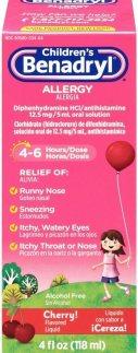 Children's Benadryl Allergy Liquid with Diphenhydramine HCl Antihistamine