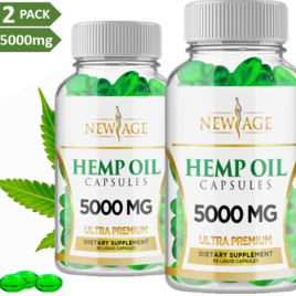 (2 Pack) Hemp Oil Capsules – 5000 MG of Pure Hemp Extract Per Bottle – Pain, Stress & Anxiety Relief – Natural Sleep & Mood Support – Made in The USA – Maximum Value – Rich in Omega 3,6,& 9,