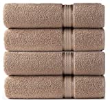 Cotton Craft Ultra Soft Bath Towels Weighs 22 Ounces - 100% Pure Ringspun Cotton - Luxurious Rayon Trim - Ideal for Everyday use - Easy Care Machine wash (Linen, 4 Pack Bath Towel)