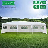 Mefeir 10'x30' Party Wedding Tent with 8 Removable Panels Sidewalls,Upgraded Steel Tube Waterproof Sun Shelter Anti UV Protection Outdoor Shed Canopy for Garden, Graduation, Backpacking, White