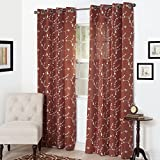 Semi Sheer Grommet Style Curtains - Floral Embroidered Pattern Window Curtain Panel for Living Room Bedroom, 84 x 54 Inch by Lavish Home (Rust)