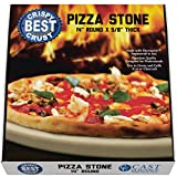 Pizza Stone for Best Crispy Crust Pizza, Only Stoneware with Thermarite (Engineered Tuff Cordierite). Durable, Certified Safe, for Ovens & Grills. 14 Round 5/8 Thick, Bonus Recipe Ebook & Free Scraper