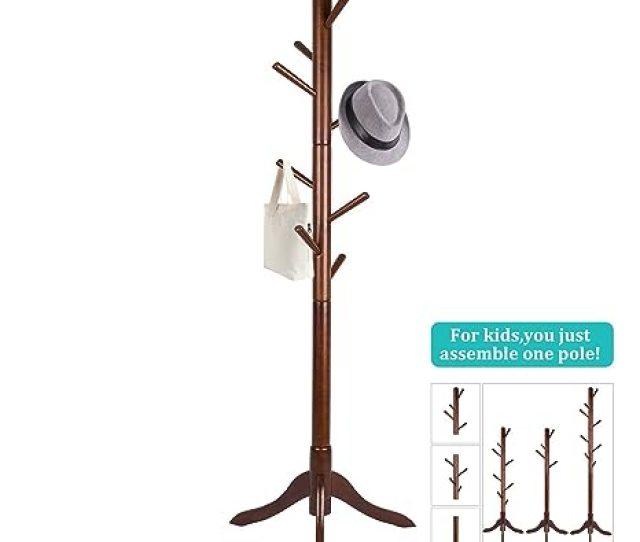 Vlush Free Standing Coat Rackwooden Coat Hat Tree Coat Hanger Holder Enterway Hall Tree