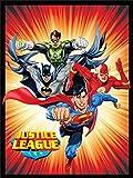 Justice League (Superman, Batman, The Flash, and Green Lantern) Sunburst Red Luxury Plush Blanket 60″x80″ Twin Size