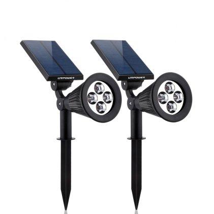 URPOWER Solar Lights 2-in-1 Waterproof 4 LED Solar Spotlight for Patio Deck Yard Garden Driveway Pool Area
