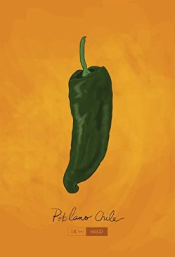 Poblano Chili Pepper Kitchen Print Giclee Original Art on Cotton Canvas and Paper Canvas Mexican Rustic Chile Theme Home Decor