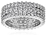 Sterling Silver Cubic Zirconia All-Around Band Stacking Ring Set (Set of 3), Size 5