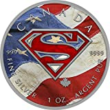 2016 CA BU Canada 5$ Superman 1 oz Colored US Flag Precious Bullion 999 Silver Coin $5 Uncirculated BM