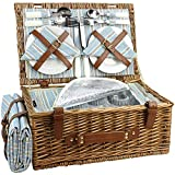 HappyPicnic Wicker Picnic Basket Set for 4 Persons | Large Willow Hamper with Large Insulated Cooler Compartment, Free Waterproof Blanket and Cutlery Service Kit-Classical Brown