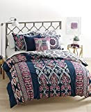 Whim by Martha Stewart Wild Child 3 Piece Full / Queen Comforter Set Dark Blue with Aztec Inspired Prints