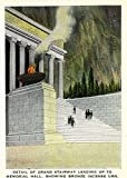 Stone Mountain, Georgia - Memorial Hall Grand Stairway, Bronze Incense Urn Burning (16x24 SIGNED Print Master Giclee Print w/Certificate of Authenticity - Wall Decor Travel Poster)