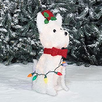 Holiday 24 White Fluffy Led Lighted Dog With Metal Frame Indoor Outdoor Christmas Sculpture Decoration
