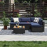 PHI VILLA 5-Piece Outdoor Furniture Set Rattan Patio Sectional Sofa with Tea Table, Blue