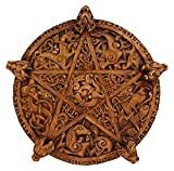 Dryad Design Large Knotwork Pentacle Wall Plaque Wood Finish