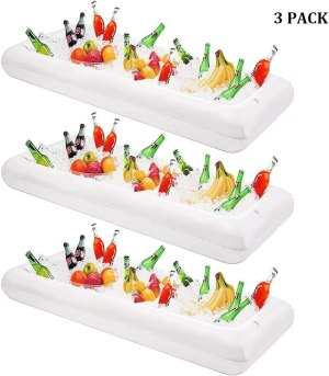 DR.DUDU Inflatable Serving Bar, 3 Pack Ice Serving Buffet Salad Cooler Food Drink Containers with Drain Plug, BBQ Picnic Pool Party Supplies Inflatable Cooler