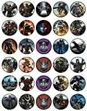 30 x Edible Cupcake Toppers - Transformers Themed Collection of Edible Cake Decorations   Uncut Edible Prints on Wafer Sheet