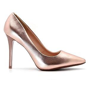 Scarpin Royalz Metalizado Salto Alto Fino Dourado Rosé