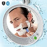 iLuv Water Resistant Portable Bluetooth Shower Speaker with Large Mirror (6.2'x 5.3') for Easy Viewing, Hands-Free Function, Suction Cup, Flexible Strap and Stand - iPhone, Samsung Phone and More