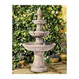 John Timberland Domanico Outdoor Floor Water Fountain 57' Tan 3-Tiered Floor Cascading for Yard Garden Lawn