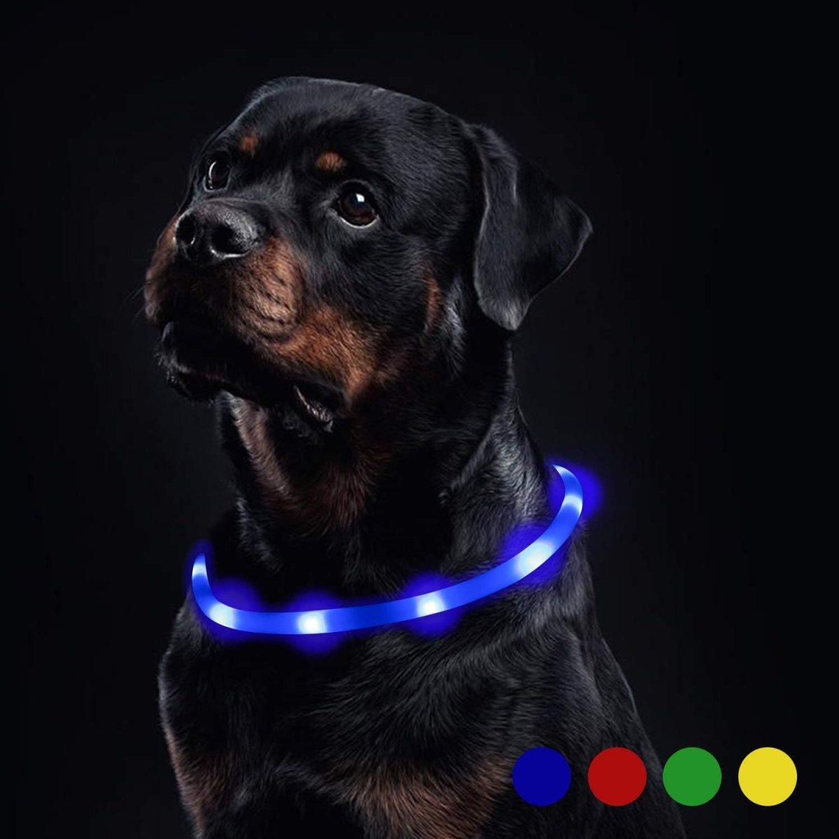 Toozey Luminoso Collares para Perro LED Durante 20 Horas de Luz Continua Impermeable