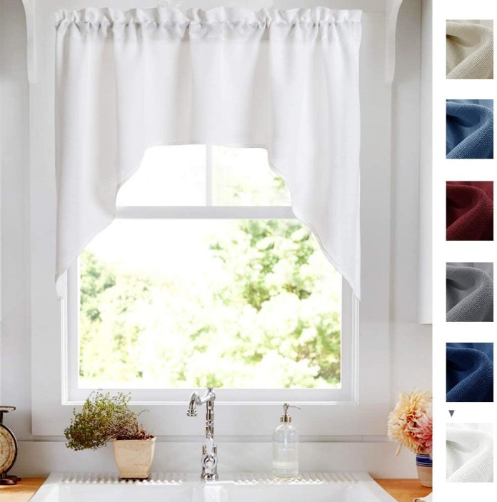 Swag valance curtains for kitchen