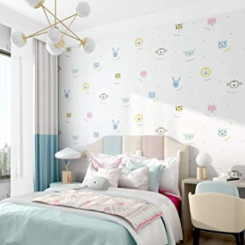 Cute Animal Cartoon Wallpaper Children S Room Wallpaper Bedroom Girls Boys Room Modern Simple Style Princess Mural Wallpaper 300cm W X 200cm H Amazon Co Uk Diy Tools